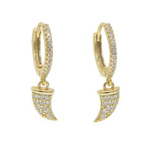 mini cz Daire hoop boynuz charm küpe minimal narin vermeil takı 925 ayar Gümüş güzel kadınlar dangle küpe takı