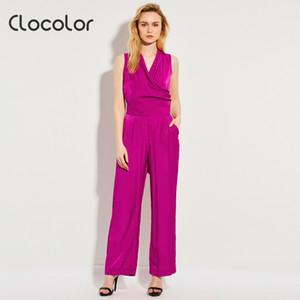 Clocolor femmes Combinaisons barboteuses salopette pantalon taille plus longueur sans manches taille haute lâche 2017 nouvelles combinaisons élégantes