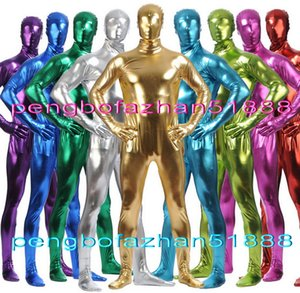 Unisex Completo Body Suit Costumi Outfit Nuovo 15 colori Lucido Lycra Metallic Catsuit Costumi Unisex Fancy Dress Party Costumi Cosplay P318
