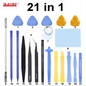 Mit Pinzette Metall Kunststoff Kondensator Pry Duster Tuch 21 in 1 Pry Werkzeuge Kit Handwerkzeuge für Handy iPhone iPad DIY Reparatur 200 satz / los