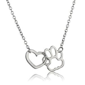 النساء الرجال الأزياء عاشق كلب القط باو طباعة قلادة الحب القلب المختنق القلائد بيان بسيط شحن مجاني