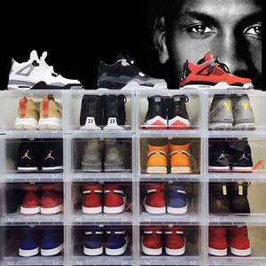 6pcs / set Grande gota Frente basquete sapato caixa de sapatos organizador de gaveta de sapatos de plástico transparente parede de exibição caixa de armazenamento
