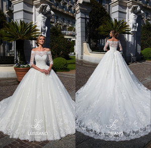 Modest Lace Querida Vestidos de Casamento 2018 Árabe Sheer Off Omoplatas Appliqued Sweep Trem Vestidos de Noiva Formal Vestidos de novia