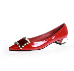 Spring New Fashion Brand Women Zapatos planos Charol Casual Metal hebilla Square Toe Boat Shoes para Office Ladies