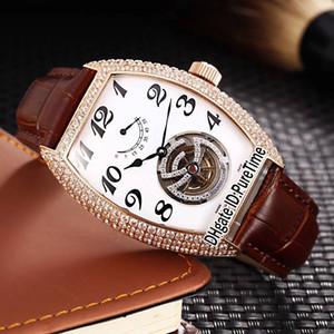 Nouveau CINTRÉE CURVEX RÉPÉTITION MINUTES 8880 Montre Homme Automatique Diamant Tourbillon Or Blanc Cadran Blanc 103b2
