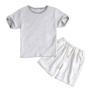 الصيف 100 ٪ من القطن الأبيض الذكور قصيرة بيجامة مجموعات قصيرة الأكمام رجالي ملابس النوم عارضة Homewear بسيطة بيضاء منامة Loungewear