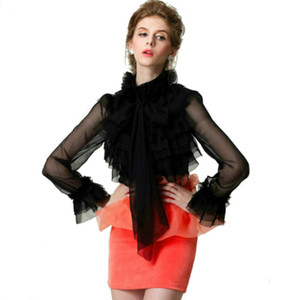 S-XXL 2018 Retro Women's Blouses Court Luxury Lace Ruffles Bow Summer Female Puff Sleeves Shirts Top Brand Design Blasias Blusa