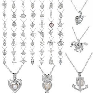 Locket della collana di moda Silver Pearl gabbia ciondolo con Shark Mermaid Sea Horse Rose Perle Oyster Charm Ciondolo gioielli per le donne a caldo
