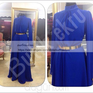 2019 Nueva imagen real Araby musulmán Vestidos de noche Cuello alto Royal Blue Gasa Satén Manga larga Una línea Cinturón dorado Formal Prom Ocasión Dresse