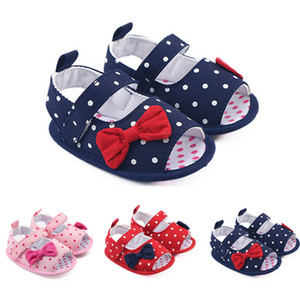 0-1 Years Bowknot Polka Dot Baby Prewalker Summer Sandals Toddler Infant Soft Sole First Walker Non-slip Shoes 11-13cm