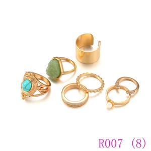 3pcs retro argento oro colore punk elefante knuckle anelli donne spiaggia vintage fiore midi anello imposta gioielli r007