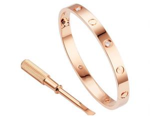 Destornillador de acero titanium de oro rosa pulsera de apertura anillo de casa eterno anillo de amor pulsera femenina pulsera de juego de pulsera