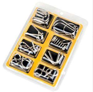 8 Pçs / set Materiais de Metal Montessori Enigma Mente QI Cérebro Teaser Quebra-cabeças para Crianças Adultos Anti-Stress Reliever Brinquedos