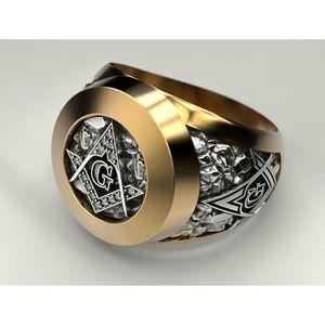 Anello massonico in acciaio inossidabile per gli uomini Massone Freemason Symbol G Anelli massonici templare