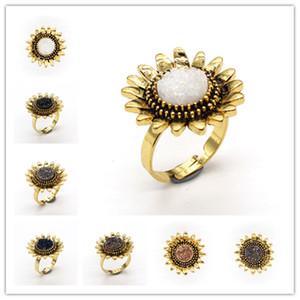 Оптовые 10 шт Позолоченные Resizable Рок Кристалл Покрашенное Cluster Sun Flower Обручальное кольцо Уникальные ювелирные изделия