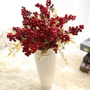 1 PC 8mm Mini Estambres de Frutas Artificiales Bayas Pequeñas Flores Artificiales Wedding Home Decoraciones de Navidad DIY Guirnaldas