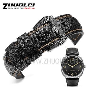 Banda De Luxo de alta qualidade 22mm 24mm 26mm Retro Pulseira de Relógio Pulseira Para PAM mens pulseira de couro pulseira de relógios-bracele