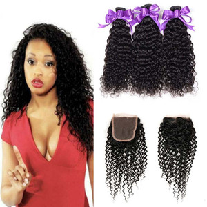 4x4 레이스 클로저로 브라질 곱슬 곱슬 인간 머리카락 3 묶음 싸게 브라질 곱슬 버진 인간의 머리카락 직조 확장
