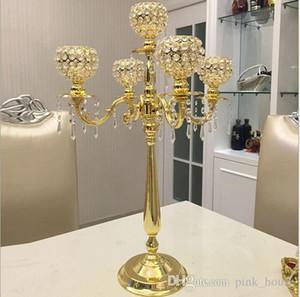 O envio gratuito de Metal Castiçais De Cristal 5-braços Suporte De Vela Decoração de Casamento Candelabros Centrais Candlestick Decor Prata Ouro