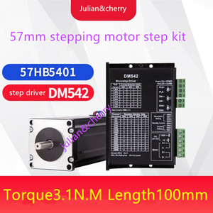 57 step kit 57HB5401 torque 3.1Nm length99.5mm+DM542 DC24~50V,1.0A~4.2A Stepper motor driver