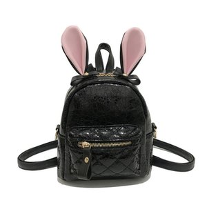 Versione coreana Simple Fashion Zaino donna 2018 New Rabbit Ear Burst Crack Bag Nero Oro rosa Argento Trend Pack