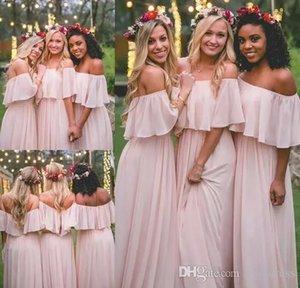 Abiti da damigella MUMU Country 2018 Modest Pink Chiffon Beach Junior Vestito da damigella d'onore Bohemian Formal Wedding Party Guest Gowns