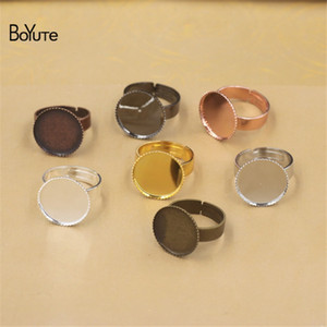 BoYuTe 20Pcs Gold Plated Round 12MM 14MM 16MM 18MM 20MM 25MM 30MM Cabochon Ring Blank Bezel Tray Diy Making