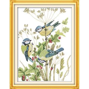 Três pequenos pássaros DIY 14CT contados cross stitch kits 11CT carimbado Impresso bordado set decoração de casa needlework novo