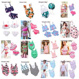 37 стили INS новорожденных девочек цветочный купальник Единорог фламинго купальники высокой талией из двух частей Бикини пляж One-Pieces купальный костюм пляжная одежда