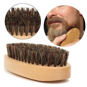 Spazzola per barba baffi Setola per cinghiale con manico rotondo Maniglia per uomini Messaggio viso barba per capelli Barba pettine Pennello da barba
