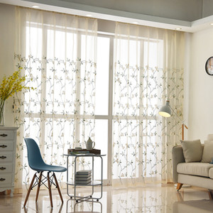 Embroidered Read Make Curtain for Living Room 7 Design Patterns Window Screen Curtain BH18036