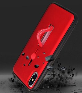 Creative Hybrid Phone Case Ring Stand Holder Metal Stand Full Cove Phone Case Kickstand Finger Ring Grip Phone Cover for iphone Samsung