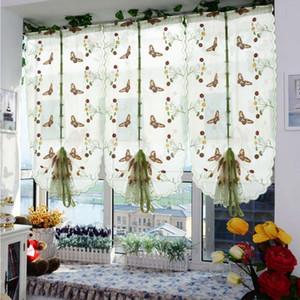 Sheer Ecológico ventana de tul bordado cortina romana para la ventana Dormitorio Cocina Sala de estar mariposa Screening Cortina