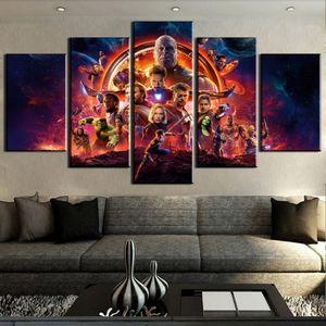 5 pièces Film merveille vengeurs affiche Infinity War sur toile, impression sur toile, peinture de décoration, décoration, photo d'art pour le salon F1844 Y18102209