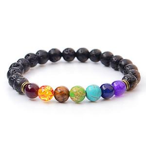 2018 hot New 7 Chakra Bracelet Men Black Lava Healing Balance Beads Reiki Buddha Prayer Natural Stone Yoga Bracelet For Women