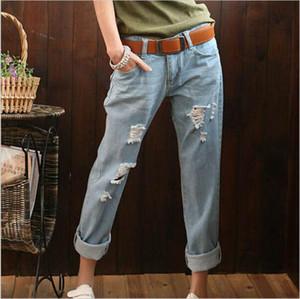 Nuevo Casual Plus Size Vintage Boyfriend Mujer Venta caliente Denim Ripped Hole Capris Venta caliente Jeans Pantalones Vaqueros Mujer Pantalones Pantalón