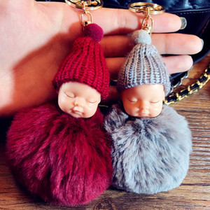 12 color Cute Sleeping Baby Doll Bag Pendant Charm Accessories Keychain Pompom Rabbit Fur Ball Key Chain Car Keyring Women Key Holder