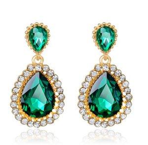 Pendientes vintage para mujer, pendientes de cristal dorado con diamantes de imitación decorados en verde Waterdrop