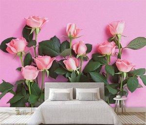 3d papel de parede moderno simples tv pano de fundo rosa rose sala de estar quarto fundo mural foto papel de parede para paredes 3 d