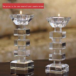 Элегантный прозрачный кристалл свеча стенд подсвечник держатель стекла Tealight держатель для палки и Tealight ужин декор DEC176