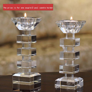 Elegante Clear Crystal Candle Stand Soporte de candelabro de vidrio Tealight Holder para Stick y Tealight Dinner Decor DEC176