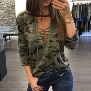 Hot Camouflage Print Blouses 2018 Autumn Women Shirts Ladies Sexy Long Sleeve Hollow Out Lace Up V Neck Casual Tops Blouse