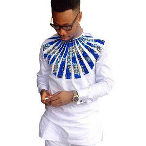Camisas de moda africano homens ancara impressão manga longa camisas dashiki algodão branco e cera patchwork o-pescoço top de roupas áfrica
