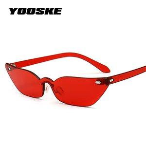 Comercio al por mayor Pequeño Ojo de Gato Gafas de Sol Mujeres 2018 Sin Montura Gafas de Sol de Lujo Diseño Vintage UV400 Marco Estrecho Sunglass