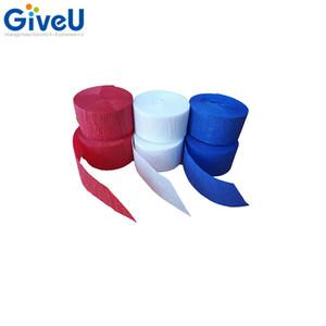 venta al por mayor patriótico rojo blanco y azul serpentinas de papel de crepe 6 rollos 150m decoración del fondo del partido total