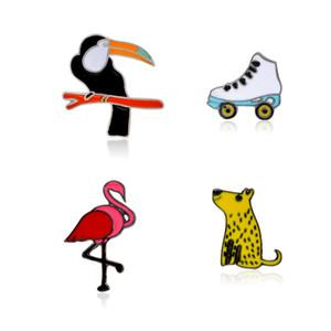Leopard Flamingo Crow Patines de ruedas broches Alfileres Esmaltes de metal Alfileres Broche de joyería animal Alfiler Joyería de flamenco Accesorio de moda