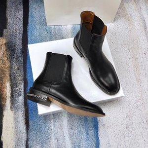 2018 new black genuine leather stretch ankle flat short boots luxury designer fashion vogue celeb choices size 35-40