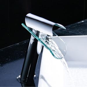 المعاصرة الشلال الزجاج صنبور حوض المغسلة الحنفية خلاط صنبور الكروم المصقول التجارية تل بالوعة الحمام الحنفية undercounter نوع