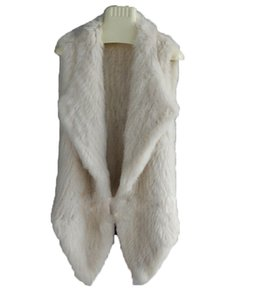 Women's Real Rabbit Fur Sleeveless Jacket Open-Front Waistcoat Knit Vest Warm