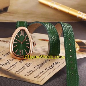 Neue 27mm Serpenti 102726 Grünes Zifferblatt Schweizer Quarz Damenuhr Roségold Fall Grün Lederband Mode Dame Uhren